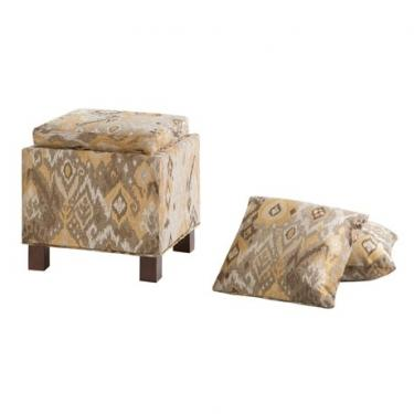Fall Ikat Storage Ottoman W/ 2 Pillows
