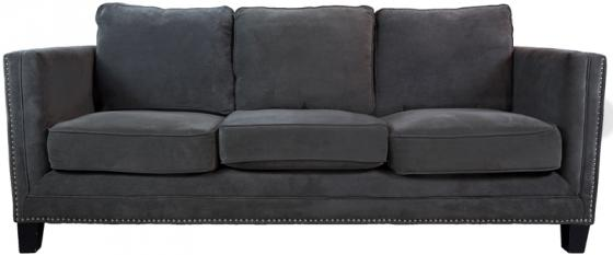 Elegant Grey Studded Sofa